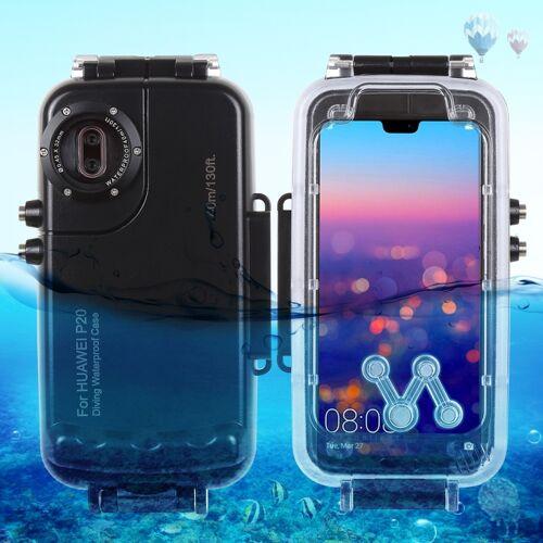 Huawei HAWEEL 40m / 130ft waterdichte duiken huisvesting Foto Video nemen onderwater Cover Case voor Huawei P20(Black)