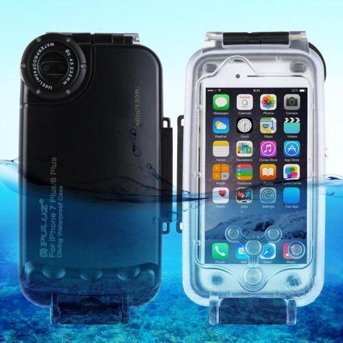 Apple PULUZ 40m / 130ft waterdichte duiken huisvesting Foto Video nemen dekken onderwaterbehuizing voor iPhone 8 Plus & 7 Plus(Black)