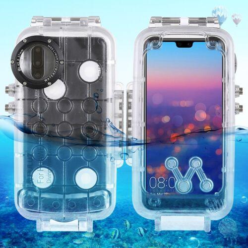 Huawei PULUZ 40m / 130ft waterdichte duiken huisvesting Foto Video nemen onderwater Case Cover voor Huawei P20 Pro (transparant)