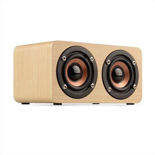 W5 Draagbare HiFi Schokbas houten Bluetooth-luidspreker (geel)