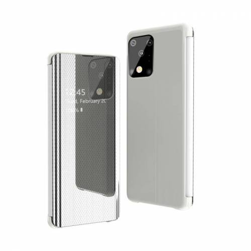 Voor Galaxy S20 Ultra Ultra Ultra Ultra-Thin Lightweight Grid Plated Mirror Phone Case(White)