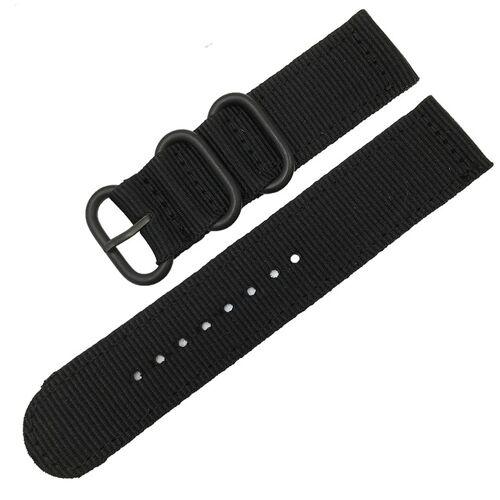 Wasbaar nylon canvas horlogeband band breedte: 22mm (zwart met zwarte ring gesp)