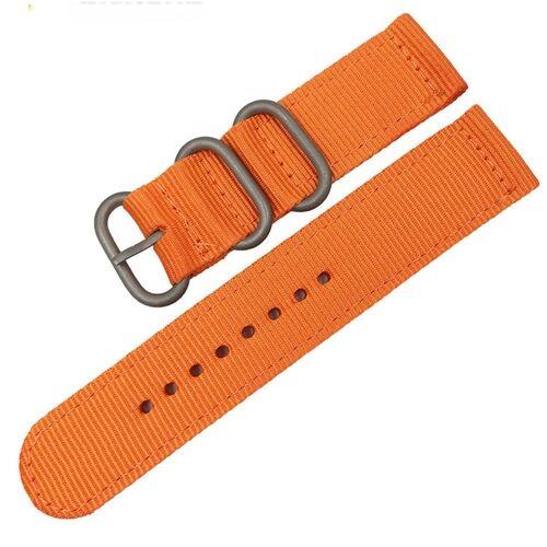 Wasbaar nylon canvas horlogeband band breedte: 24mm (oranje met zilveren ring gesp)