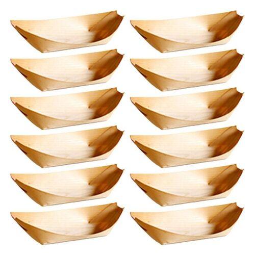 50 STKS/set 22x11x3 cm wegwerp houten kajak maaltijd vak gebak vak dessert vak