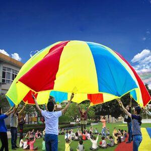 3 6 m kinderen buiten spel oefening Sport speelgoed regenboog paraplu Parachute spelen leuk speelgoed met 8 handvat riemen voor gezinnen / kleuterscholen / pretparken
