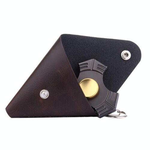 Driehoekig Leren Hoesje voor Fidget Spinner, Afmeting: 9 x 9 cm (koffie kleur)