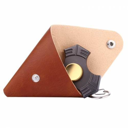 Driehoekig Leren Hoesje voor Fidget Hand Spinner, Afmeting: 9 x 9 cm (bruin)
