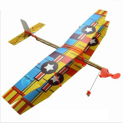 DIY assembleren rubber aangedreven model vliegtuig zweefvliegtuig speelgoed educatief speelgoed willekeurige stijl levering