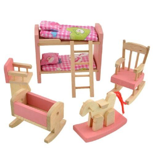Poppenhuis meubels set houten stapelbedden