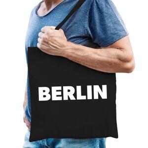Bellatio Decorations Katoenen Berlijn/wereldstad tasje Berlin zwart -