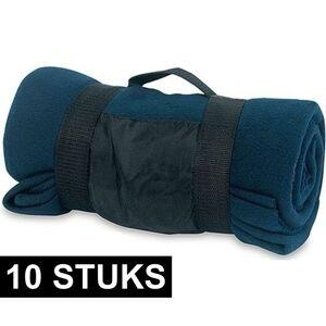 Merkloos 10x Fleece dekens/plaids blauw afneembaar handvat 160 x 130 cm -