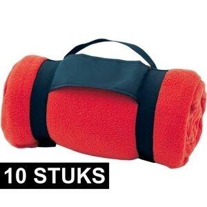Merkloos 10x Fleece dekens/plaids rood afneembaar handvat 160 x 130 cm -