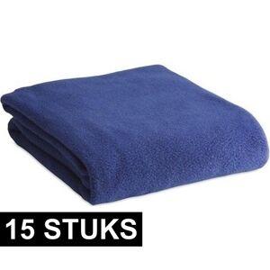 Merkloos 15x Fleece dekens/plaids blauw 120 x 150 cm -