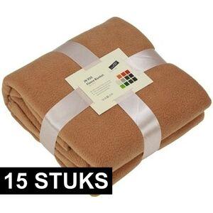 James & Nicholson 15x Fleece dekens/plaids camel 130 x 170 cm -