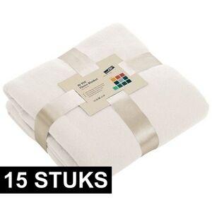 James & Nicholson 15x Fleece dekens/plaids gebroken wit 130 x 170 cm -