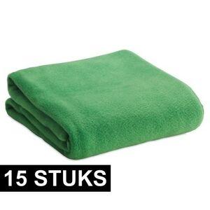 Merkloos 15x Fleece dekens/plaids groen 120 x 150 cm -
