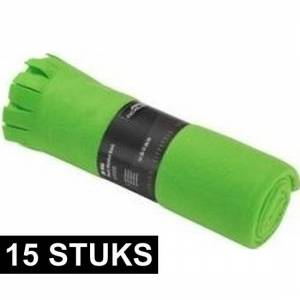 Merkloos 15x Fleece dekens/plaids met franjes groen 130 x 170 cm -