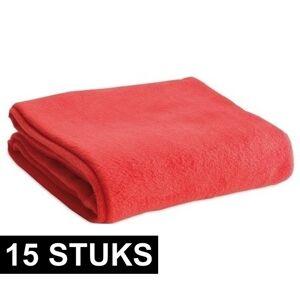 Merkloos 15x Fleece dekens/plaids rood 120 x 150 cm -