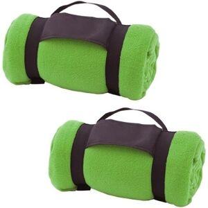 Merkloos 2x Fleece dekens/plaids groen afneembaar handvat 160 x 130 cm -