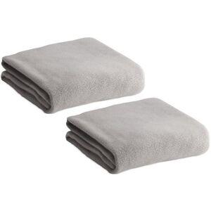 Merkloos 2x Fleece dekens/plaids lichtgrijs 120 x 150 cm -