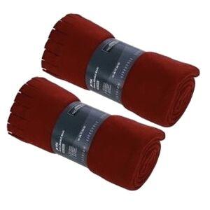 Merkloos 2x Fleece dekens/plaids met franjes rood 130 x 170 cm -