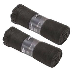 Merkloos 2x Fleece dekens/plaids met franjes zwart 130 x 170 cm -
