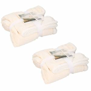 Merkloos 2x stuks zachte dekens/plaids sherpa beige 130 x 160 cm -