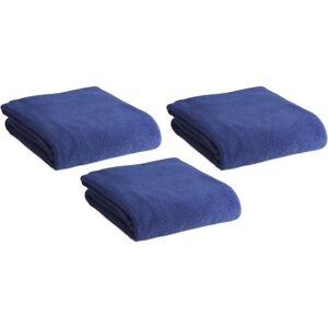 Merkloos 3x Fleece dekens/plaids blauw 120 x 150 cm -