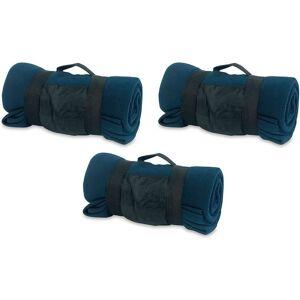 Merkloos 3x Fleece dekens/plaids blauw afneembaar handvat 160 x 130 cm -