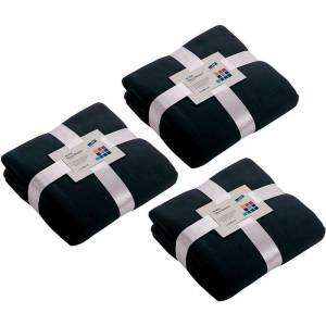James & Nicholson 3x Fleece dekens/plaids marineblauw 130 x 170 cm -