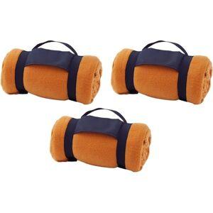 Merkloos 3x Fleece dekens/plaids oranje afneembaar handvat 160 x 130 cm -