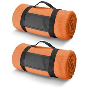 Bellatio Design 3x Fleece dekens/plaids oranje met afneembaar handvat 150 x 120 cm -