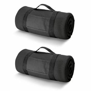 Bellatio Design 3x Fleece dekens/plaids zwart met afneembaar handvat 150 x 120 cm -