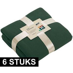 James & Nicholson 6x Fleece dekens/plaids donkergroen 130 x 170 cm -