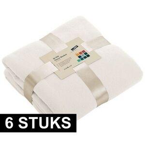 James & Nicholson 6x Fleece dekens/plaids gebroken wit 130 x 170 cm -