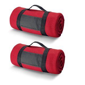 Bellatio Design 6x Fleece dekens/plaids rood met afneembaar handvat 150 x 120 cm -