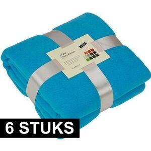 James & Nicholson 6x Fleece dekens/plaids turquoise 130 x 170 cm -