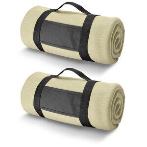 Bellatio Design 6x Fleece dekens/plaids zandkleurig met afneembaar handvat 150 x 120 cm -