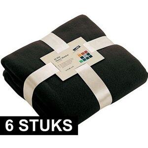 James & Nicholson 6x Fleece dekens/plaids zwart 130 x 170 cm -