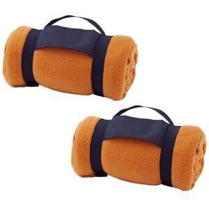 Merkloos Pakket van 5x stuks fleece dekens/plaids oranje met afneembaar handvat 160 x 130 cm -
