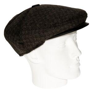 Geen Heren flat cap bruin met lichte structuur 56 Zwart