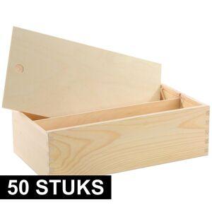 Merkloos 50x Houten wijnkist/verpakking met schuifdeksel 35,5x20x10,8 cm -