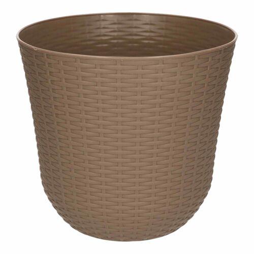 Forte Plastics 1x Taupe plantenbakken/bloempotten 25 cm rond -