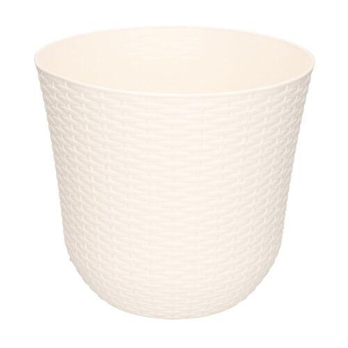 Forte Plastics 1x Witte plantenbakken/bloempotten 25 cm rond -