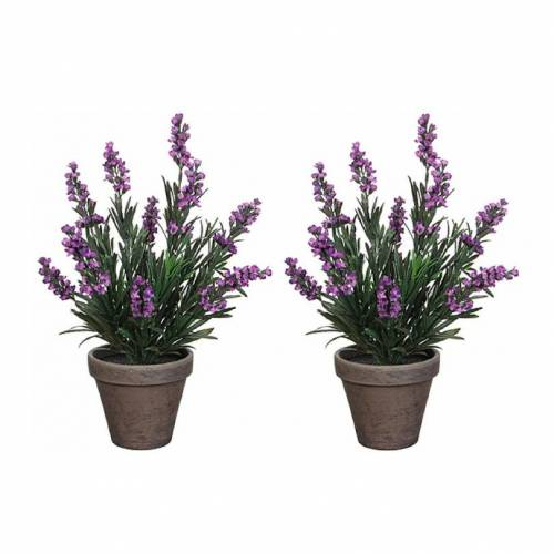 Mica Decorations 2x stuks lavendel kunstplanten/kamerplanten paars in grijze sierpot H33 cm x D20 cm -