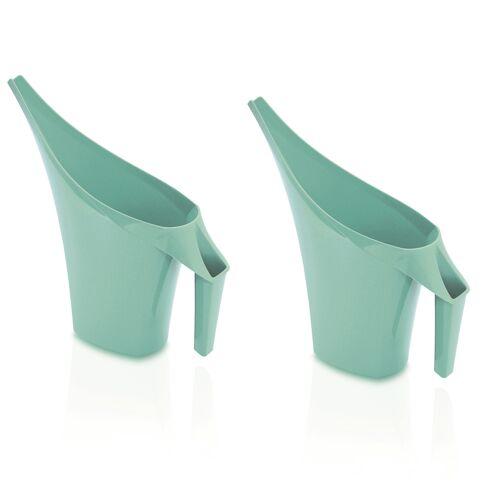 Prosperplast 2x Stuks mintgroene bloemen/planten gieters kunststof 2 liter -