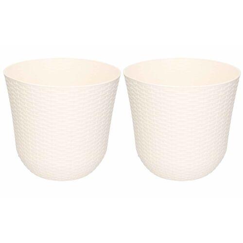 Forte Plastics 2x Witte plantenbakken/bloempotten 25 cm rond -