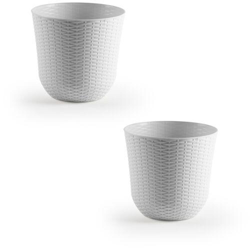 Forte Plastics 3x Witte plantenbakken/bloempotten 32 cm rond -