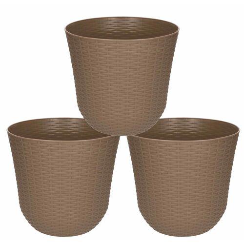 Forte Plastics 5x Taupe plantenbakken/bloempotten 25 cm rond -