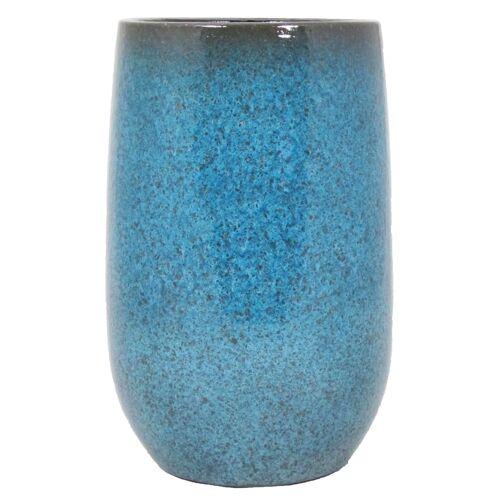 Floran Bloempot vaas blauw flakes keramiek voor bloemen/planten H30 x D19 cm -